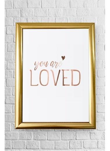 Lyn Home & Decor You Are Loved Çerçeveli Poster Tablo 17,5X23,5 Altın